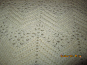 Soft Ivory Hand knitted blanket with intricate pattern