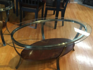 3 of Glass wood coffe tables oval round 3 pieces