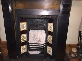 Victorian slate fire surround and cast iron fire