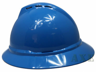 Msa V-guard Full Brim Hard Hat Vented 4-point Ratchet Suspension Blue