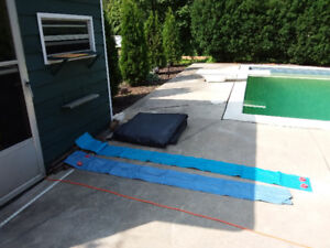 pool winter cover and water bags