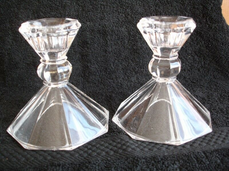 Pair of Tent Footed  Clear Crystal Candlestick Holders.
