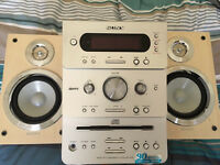 Sony CD/Radio/Cassette unit with two speakers.