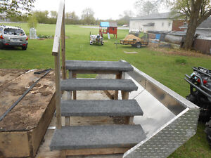 Set of Carpeted Stairs for Hot Tub with hand rail