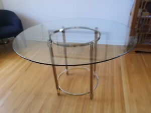 GLASS TOPPED TABLE - 48''DIAMETER