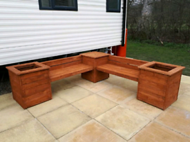 Wooden Corner Bench with Box Planters - Decking, Patio, Garden