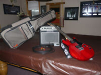 Ibanez GAX30 electric guitar, Crate amp and Godin bag