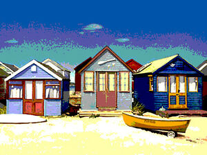 BEACH HUTS  SEASIDE  canvas picture print 12