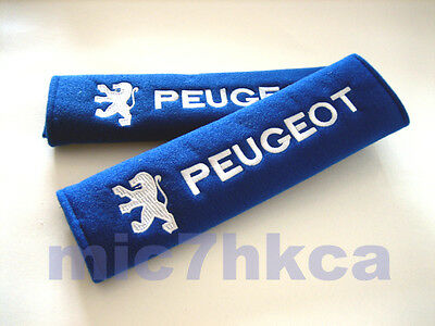 2x soft car seat belt cushion cover pads for PEUGEOT blue & white (UK stock)