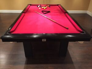 BLACK SLATE POOL TABLE AND ACCESSORIES