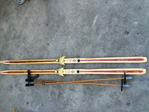 Vintage, Antique Wooden Skis with Bamboo Poles