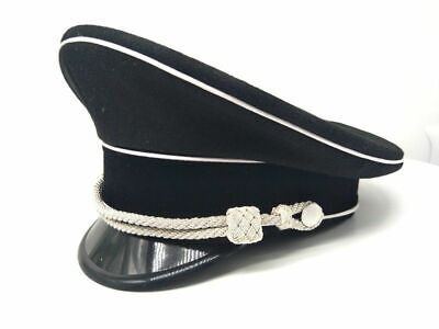 WW2 German Elite Officer Visor Hat Cap Black & Chin Pipe silver Cord SIZE M