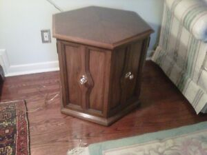 Oak End Table with Polished Brass Hardware