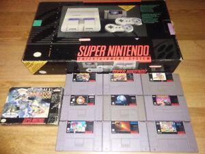 Super Nintendo with 2 Controllers and ten games