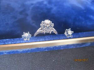 Sapphire and Diamond Cluster Ring with Matching Earrings