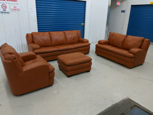 Natuzzi Leather 4 Piece Sofa Set. Made in Italy. Free Delivery
