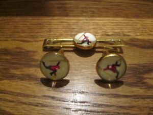 Vintage Painted Glass Cufflinks and Tie Clip for Men - Curling