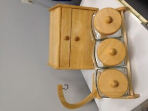 For sale Bread box, cannisters, and banana holder set
