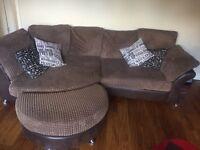 DFS corner sofa, comfy chair & 2 footstools