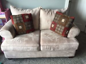 Microfiber beige couch and loveseat Strathcona County Edmonton Area image 1