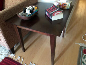 Brown, solid wood, coffee table.