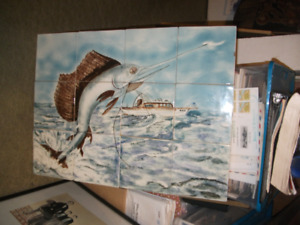 Large TILE Picture-FISH, Fishing Boat ,Sea Scene-SPECTACULAR