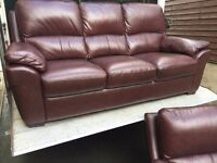3 & 1 harveys beautiful chestnut brown leather sofas - can deliver