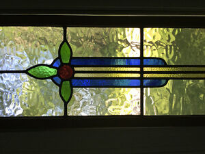 ANTIQUE STAINED GLASS WINDOW PANELS / VITRAIL