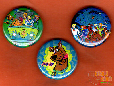 "Set of three 1"" Scooby Doo pins buttons cartoon"