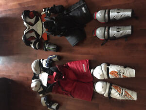 Hockey Equipment (shoulder pads, elbow pads, pants, shin pads)