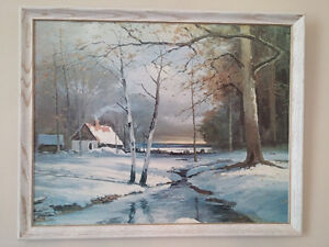 Moving - Original Unsigned Winter Scene Oil Painting