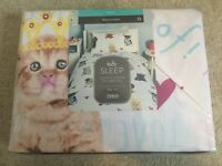 Kids Brand New Cat And Dog Single Duvet Cover Set