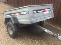 """Larger Erde 142 tipping trailer + spare wheel 5ft by 3ft 6"""""""