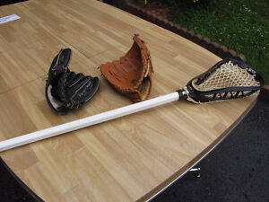 Kids baseball gloves and lacrosse stick