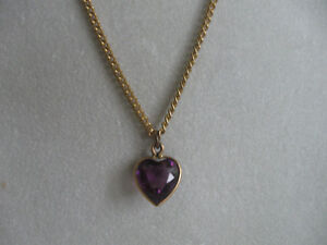 CHARMING OLD VINTAGE AMETHYST HEART-SHAPED PENDANT NECKLACE