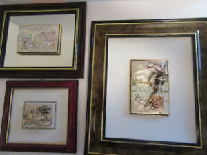 3 RAISED ART = 1 @ 925 & 1 @ 800 - R.ARGENTO-FROM ITALY W/FRAMES