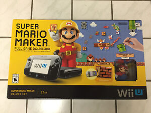 Wii U Mario Maker Bundle As New With Amiibo, Extra Remote & Game