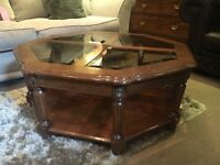 Octagonal Mahogany Coffee Table with Smoked Glass + Shelf - CAN DELIVER
