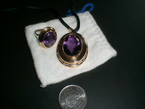 SOLID 14K GOLD SET WITH AMETHYST