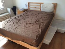 IKEA TARVA double bed and HOVAG mattress and storage boxes