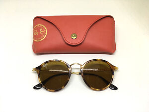 Ray-Ban RB2447 Round Fleck 1160 Tortoise Gold Frame/Brown Classi