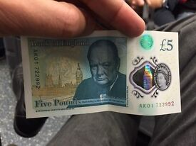 New 5 pound notes AA02,AA08,AA20,AA19,AM02,40,29,48,59,50 and many more