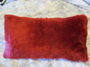 2 Red Faux Fur Pillows with featherlite pillow inserts