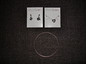 SILVER HEART-SHAPED NECKLACE EARRINGS AND BANGLE BRACELET SET