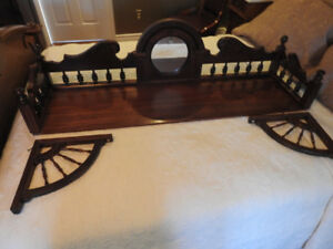 "antique walnut display shelf 50"" x 14"".. decorative / unique"