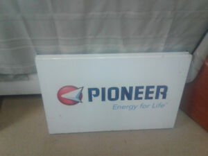 Pioneer gas pump sign