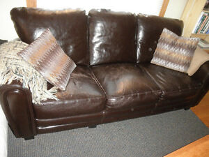 dark brown leather sofa and chair- a not perfect but cheap couch