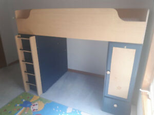 Kid Twin Loft Bed with Desk and Shelf (Lit mezzanine)