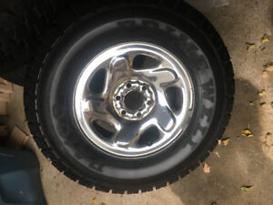 WINTER TIRES  235/75r15 ON CHROME RIMS 6 x 114 ( set of 4 )