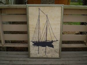 ORIGINAL PAINTING on Soft Canvas by PJ Dudar 1973 ( Sail Boat )